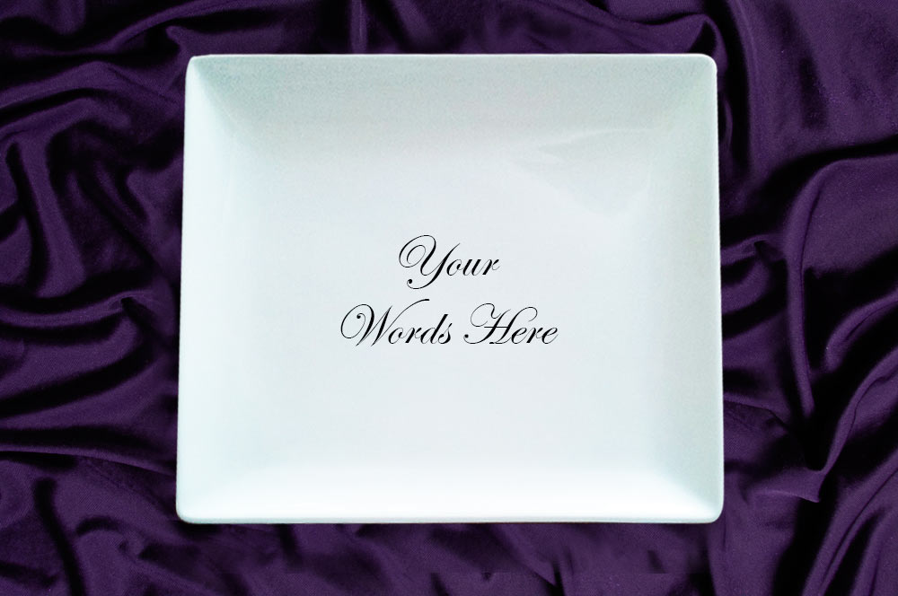 Coupe Flat Square Dinner Plate Custom Wedding Plates